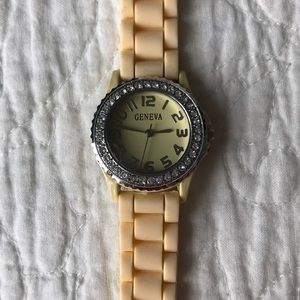 Butter yellow Geneva watch with jewels